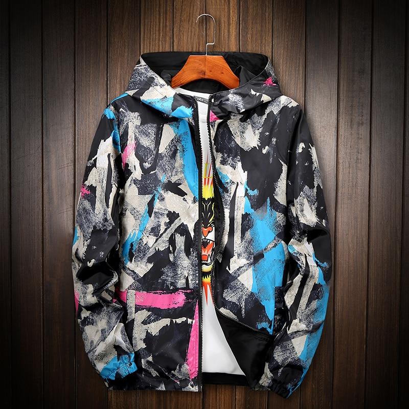 Spring Autumn Jackets Men Fashion Military Tactival Graffiti Hooded Windbreaker