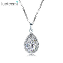 LUOTEEMI Fashion Pear Cut AAA Cubic Zirconia Waterdrop Pendant Necklace for Women Bridal Wedding Necklace Jewelry(China)