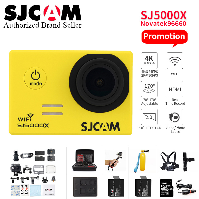 SJCAM SJ5000X Elite WiFi 4 K 24fps Gyro Sport DV 2.0 LCD NTK96660 plongée 30 m étanche caméra d'action aller extrême pro yi 4 k camara