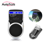 Solar Powered Bluetooth Car Kit LCD Display car Hands Free Bluetooth Speaker with car harger car styling kit via free shipping