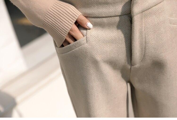 Mutanda Casual Di Pantaloni Coperto Inverno Eleganti apricot Delle Button Larghi Piedino Gray Diritto Donne Dei Lana Mujer fiammifero Del Tutto Autunno Caldo Pantalon wavIgqf0x