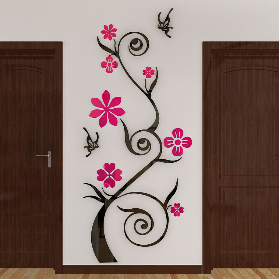 online get cheap wall stickers flowers aliexpress com alibaba group butterfly florid crystal three dimensional 3d sticker living room entrance hallway creative home decor wall stickers flower tree