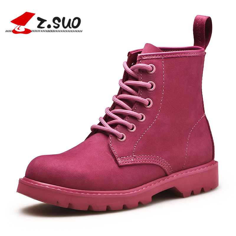 Z.Suo Women's Winter Boots Fashion Genuine Leather Ankle Boots Lace-up Comfortable Female Motorcycle Boots botas mujer ZS18520N недорго, оригинальная цена