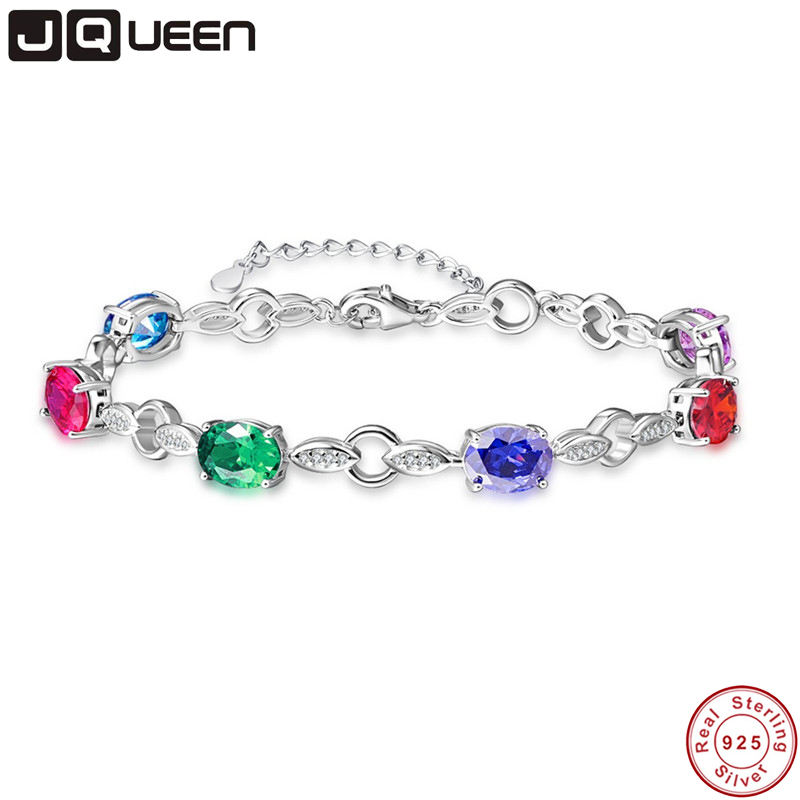 JQUEEN Natural garnet, blue topaz, amethyst 925 silver bracelet, 6 pieces of oval 6mm*8mm , beautiful color and fashion designJQUEEN Natural garnet, blue topaz, amethyst 925 silver bracelet, 6 pieces of oval 6mm*8mm , beautiful color and fashion design