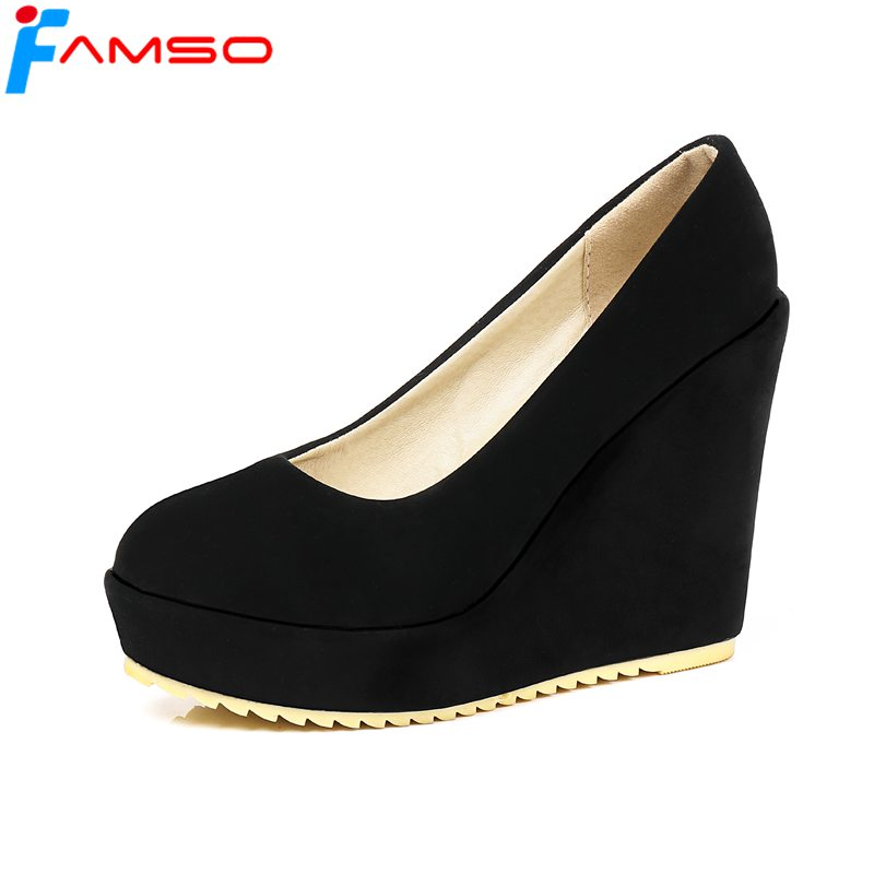 FAMSO Size34-43 2018 New Women pumps Black Beige red Round toe Wedges Pumps Shoes Platforms Shoes Designer Lady Office Shoes 5 colors ankle strap lady wedding shoes women red thick high heel pumps lady square toe black dress shoes size34 43