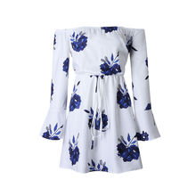 LOSSKY Sexy Slash Neck Backless Floral Print Summer Dress White Casual Female Chiffon Vestidos De Festa Bandage Women Dresses