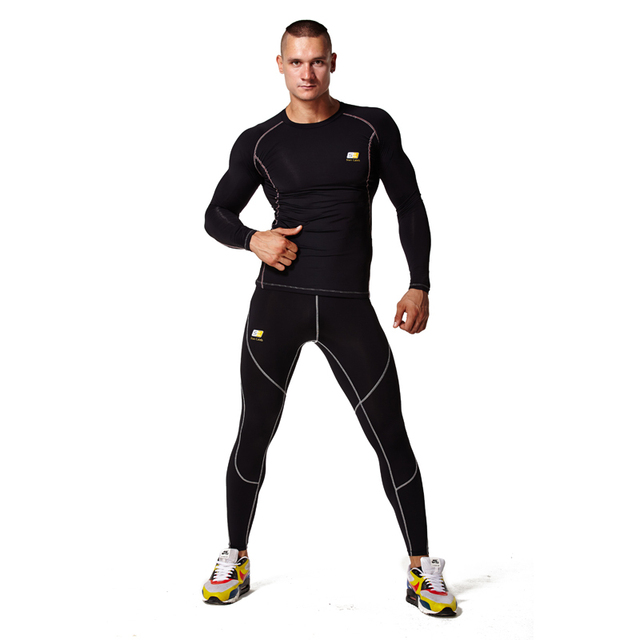 b8265aa2 Hombre ropa deportiva de manga larga camisa pantalón de compresión apretado deporte  hombre ropa de entrenamiento
