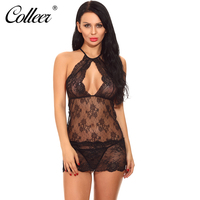 COLLEER Bra Sets For Women Plus Size 3 Women Babydoll Lingerie Lace Chemise Halter Nightwear Teddy