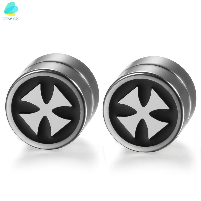 Boniskiss Men's Magnetic Ear Stud Fake Plug Cheater With St Columba Wheel  Cross Symbol(