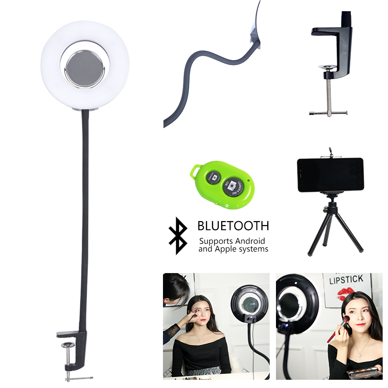 CY 8 Inch 24W5600K Dimmable Photo Studio selfie light Photography Tabletop Makeup Ring Light Phone Video Live Light Lamp EU plug