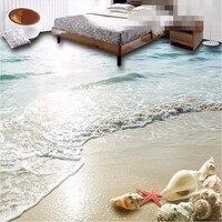 Modern Custom 3D Floor Bathroom Mural HD Ocean Beach Shell Starfish Non Slip Waterproof Thickened PVC