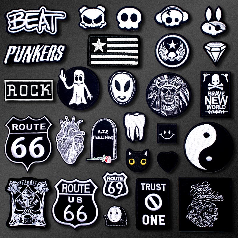 SKULL Tooth Cat Patch For Clothing Iron On Embroidered Sewing Applique Cute Sew On Fabric Badge DIY Apparel Accessories
