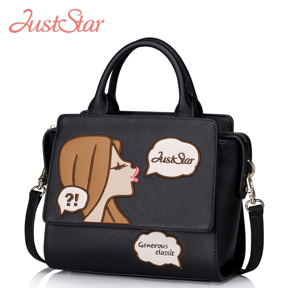 Just Star Women PU Leather Handbags Ladies Girl and Bubbles Embroidery Tote Crossbody Bags Female Patchwork Brand Bolsas JZ5904 xiyuan brand ladies beautiful and high grade imports pu leather national floral embroidery shoulder crossbody bags for women