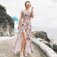 Women Dress Suit 2018 Summer Short Sleeve Off The Shoulder Short Tops Floral Print Split Skirt