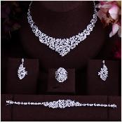 HTB1f agnJYBeNjy1zeq6yhzVXak JaneKelly Gold-Color Luxury Sparking Brilliant Cubic Zircon Drop Earring Necklace Jewelry Sst Wedding Bridal jewelry sets