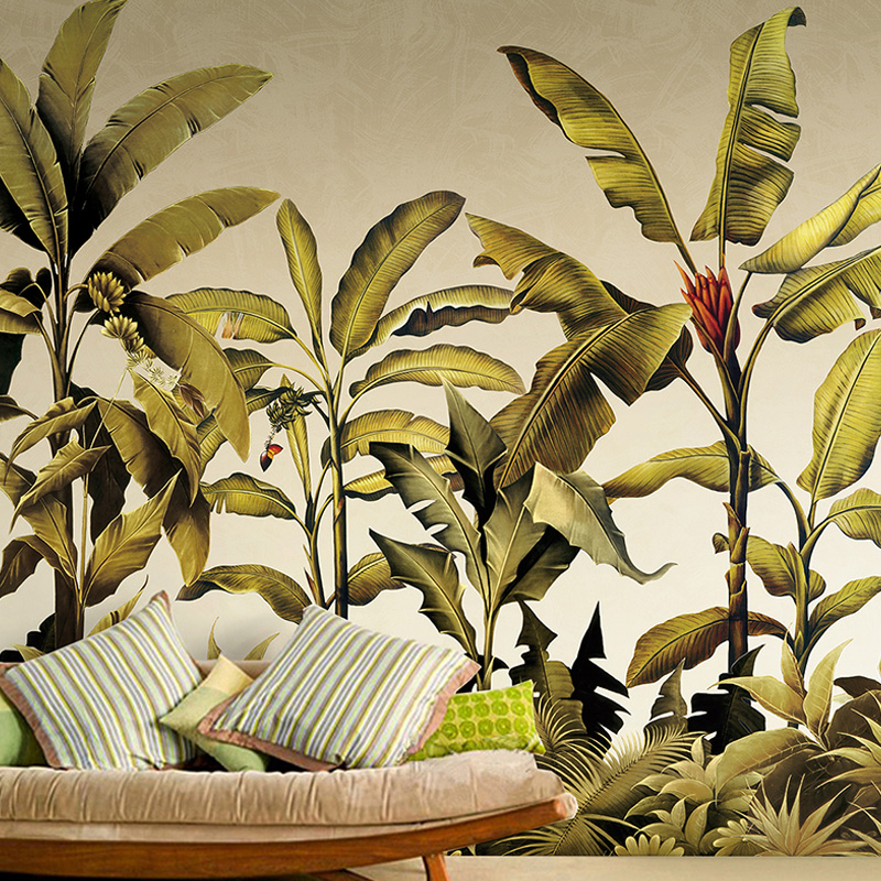 Free Shipping Southeast Asian tropical green plant wallpaper living room TV backdrop wallpaper mural wall painting  free shipping southeast asian style elephant mural background wall thickened wear high quality living room bedroom wallpaper