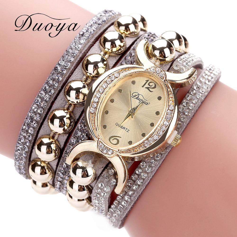 Duoya Women Bracelet Watch Quartz Watch Wristwatch Women Dress Leather Bracelet Watches Montre Femme s37