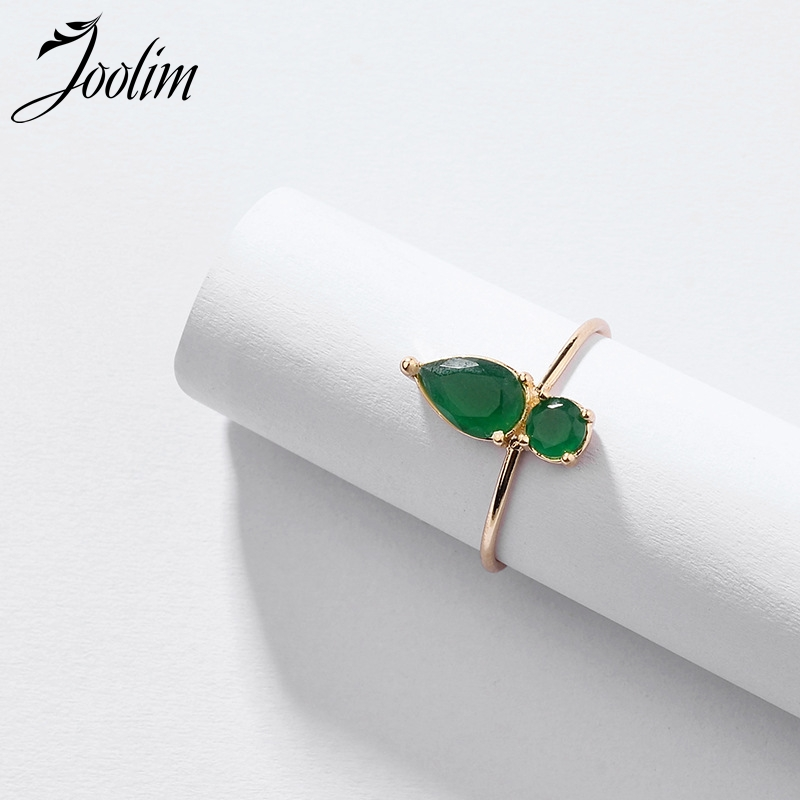 JOOLIM Cubic Zirconia Green Red Blue Delicate Rings for Women Adjustable Ring