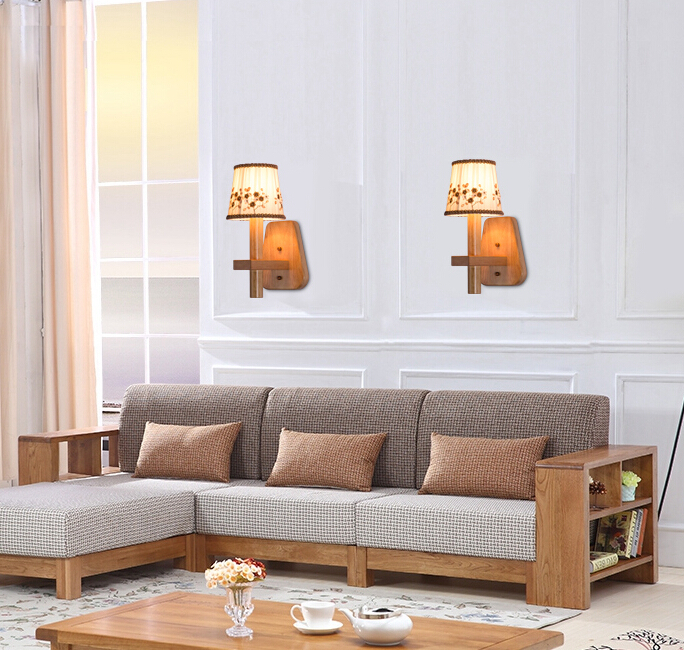 Nordic Modern Warm Cloth Wall Lamp Bedroom Bedside Restaurant Aisle Solid Wood Wall Light Free Shipping modern lamp trophy wall lamp wall lamp bed lighting bedside wall lamp