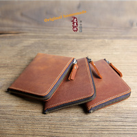 Europe And The United States Handmade Men Wallet Leather Short Paragraph Retro Mad Horse Leather Chucks