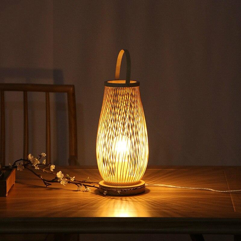 Moderne minimaliste chambre bambou lampe de table Zen thé chambre lampe hôtel lit et petit déjeuner chaud lampe de chevet WF4161550