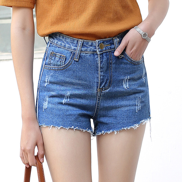 Yichaoyiliang Summer Casual Denim Shorts Women High Waist Ripped Brief Short Jeans Mini Shorts Tassels Hem Female Slim Bottoms