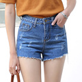 Yichaoyiliang Verano Casual Denim Shorts Mujeres de Cintura Alta Ripped Breve Corto Jeans Mini Shorts de Las Borlas del Dobladillo Femenino Delgado Bottoms