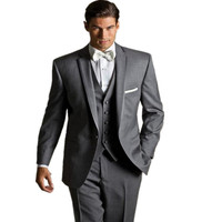 Light Grey One Buttons Notch Lapel Groom Tuxedos Groomsman Wedding Suits Prom Mens Business Suits Jacket+Pants+Vest
