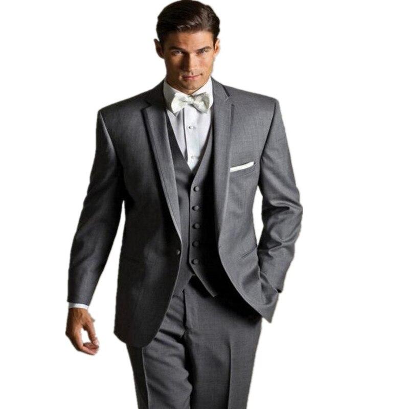 Springplus Mens 3 Pieces Slim Fit Mens Suit Jacket Tux Vest Groomsmen Blazer