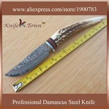 DT068 damascus steel knife Camping Knife deer horn handle utility hunting knife baioneta caza messer jagdmesser ghillie knife