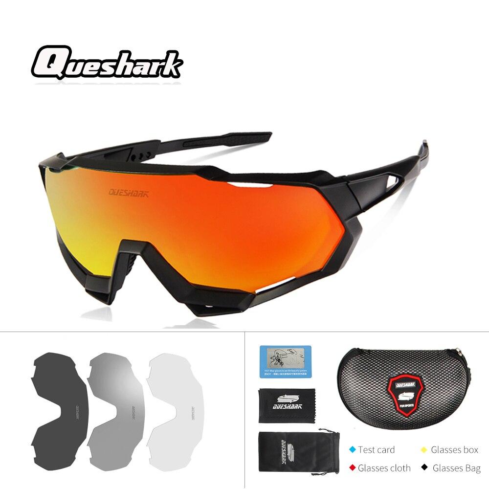 Queshark 4 Profissional lente/Set Óculos Polarizados Pesca UV400 Bicicleta À Prova de Vento Óculos de Proteção Óculos De Corrida Esporte Ao Ar Livre óculos de Sol