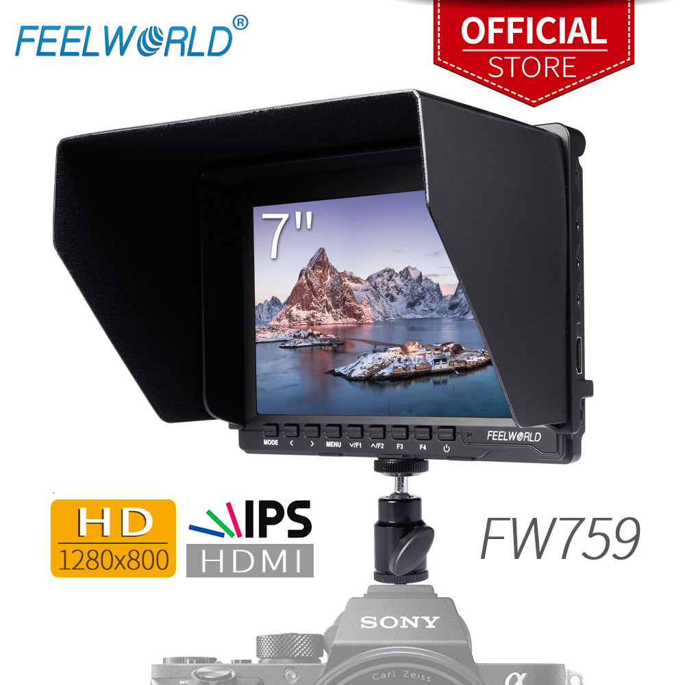 цена на Feelworld 7 IPS Ultra-thin Design 1280x800 HD HDMI On-Camera Field Monitor with Peaking Focus LCD Monitor FW759 for DSLR Sony