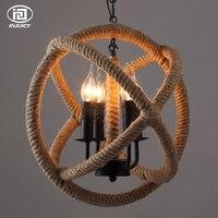 Лофт Винтаж пеньковая веревка Книги по искусству большой шар потолочный светильник промышленные Эдисон лампа Открытый Подвесные Светильн