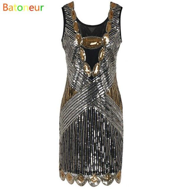 3d4bd726f Prettyguide mujeres 1920 s vestidos de lentejuelas arte deco gatsby  festoneado dobladillo v profundo oro inspirado