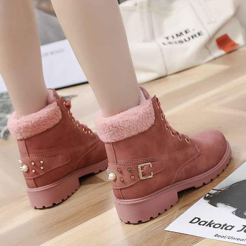 2019 Yeni Kadın kar botları kadın platformu kış çizmeler kalın peluş su geçirmez kaymaz moda kış ayakkabı sıcak kürk botas mujer