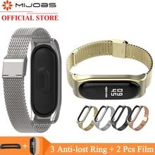 Mijobs Mi Band 4 Wrist Strap Metal Screwless Stainless Steel For Xiaomi 3 Bracelet Miband Wristbands
