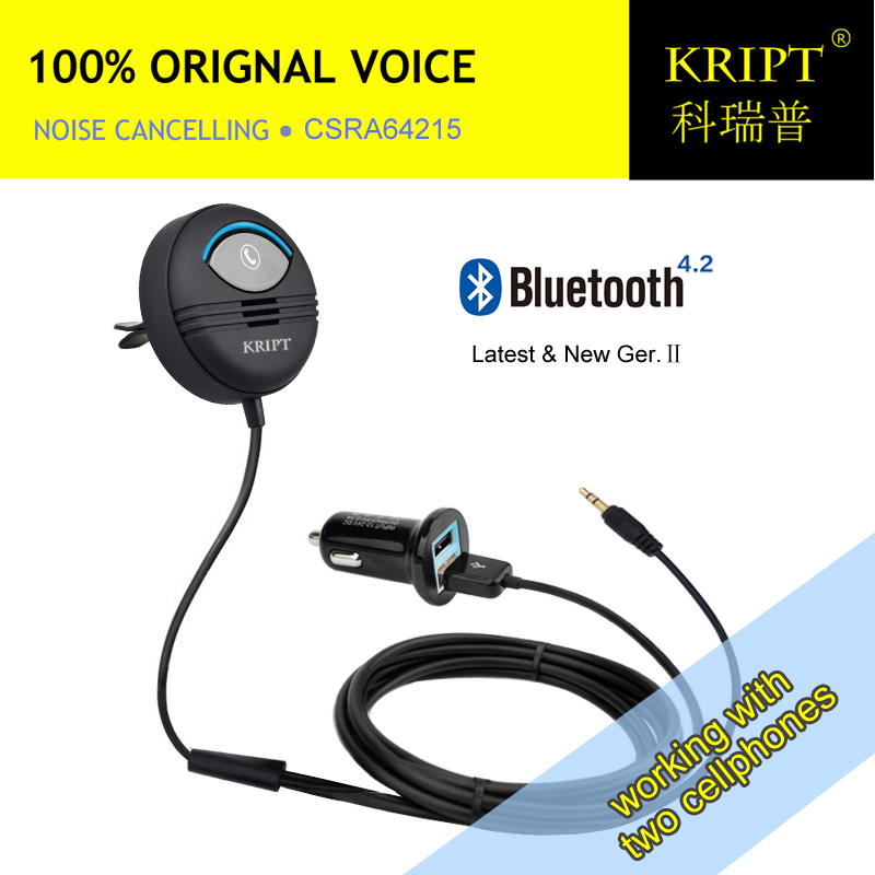 Kript 2nd Generation Bluetooth Car Kit Car Handsfree can connect two mobile phones