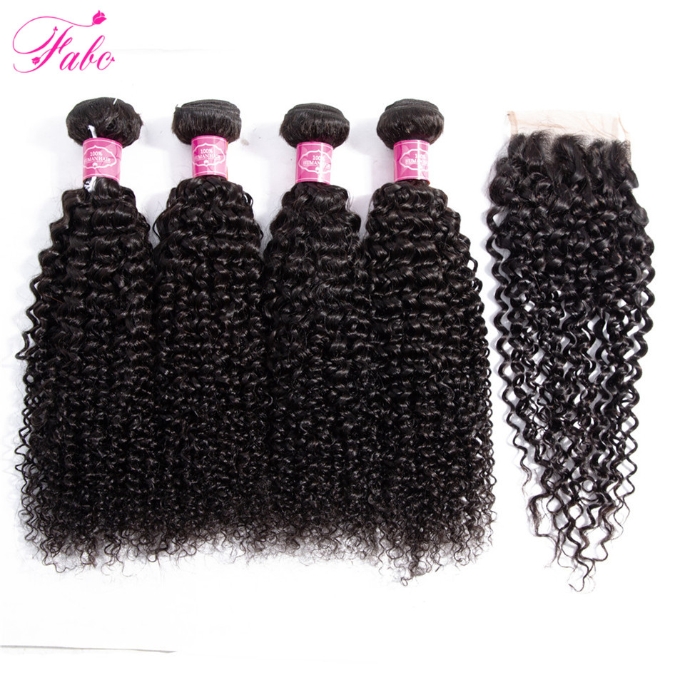 FABC Malaysian Kinky Curly Bundles with Closure 4 4 Swiss Lace Closure Non Remy Hair Extensions