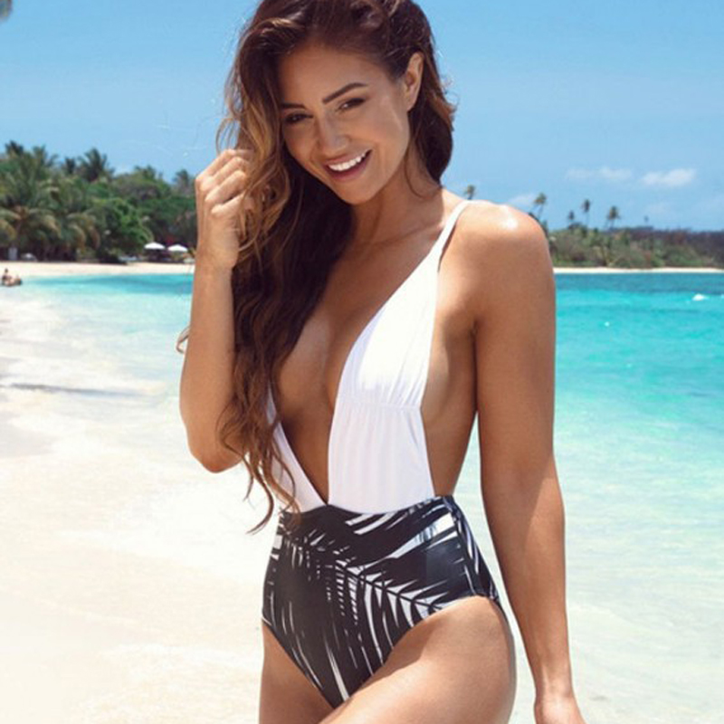 <font><b>2017</b></font> <font><b>Sexy</b></font> <font><b>One</b></font> <font><b>Piece</b></font> <font><b>Swimsuit</b></font> Monokini Swimming Suit <font><b>Women</b></font> High Cut <font><b>Swimwear</b></font> Beach Bodysuit Leaves <font><b>Print</b></font> Swim Wear Bathing Suits image