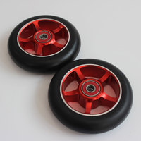 Free Shipping Aluminium Metal Freestyle Stunt Scooter Wheels Black PU Red Aluminum Scooter Need 2 Wheel