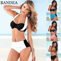2016 New Sexy Bikinis Women Swimsuit High Waist Bikini Halter Top Push Up Bikini Set Beach
