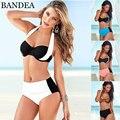 Bandea biquíni de cintura alta plus size swimwear mulheres sexy maiô retro halter push up bikini set maillot de bain