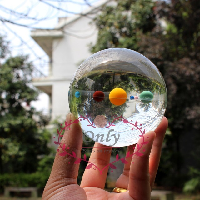 Home Decor Free Shipping Galaxy 8 Planets of the Solar System Crystal Glass Ball  Astronomy Education Gifts for Kids