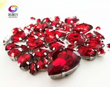 Sell at a loss!! 68pcs/pack Red mix shape high quality glass crystal material sew on claw rhinestones,diy/Clothing accessorie
