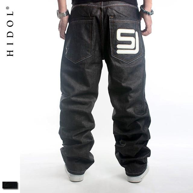 Original Skateboard Denim Vaqueros hombres europeos 46 baggy negro impreso  hip hop Pantalones marca ropa SJ 4183278eba8