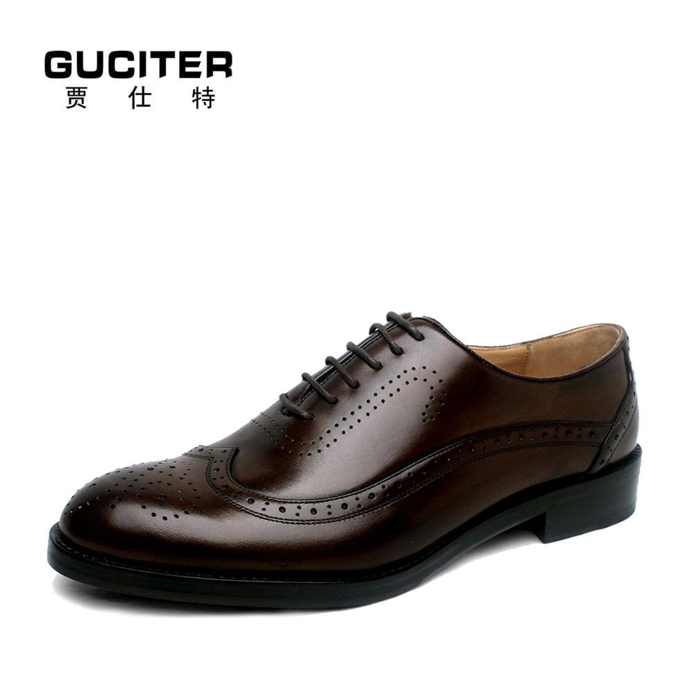 Guciter Goodyear обувь Бесплатная доставка ручной работы из натуральной опойковой кожаная подошва черные Оксфордские броги Для Мужчин's Clssic/платье