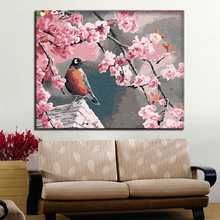Pink Flower Tree Branch Branches And Bird Picture By Numbers Kits Hand painted Style On Linen Canvas Unique Gift DIY Painting