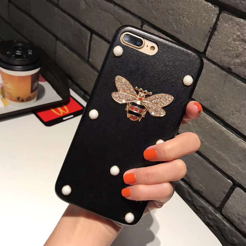 Luxury Leather 3D Metal Bee Pearl Phone Cases PU Material Fashion For iPhone X 7 6 6S 7 8Plus Back Cover Coque
