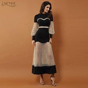 Image 3 - Adyce 2019 New Luxury Evening Dresses ชุดผู้หญิงสีดำยาวแขนยาวลูกไม้ Hollow Out ตาข่าย Maxi ชุดคลับ vestidos