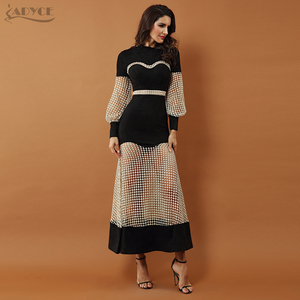 Image 3 - Adyce 2019 nova celebridade de luxo vestidos festa à noite das mulheres vestido preto manga longa rendas oco para fora malha maxi clube vestido